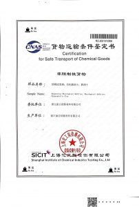 certificate for safe transport of chemical goods